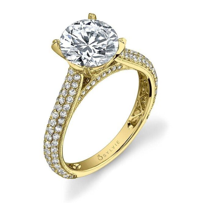 Micro Pave Solitaire Engagement Ring