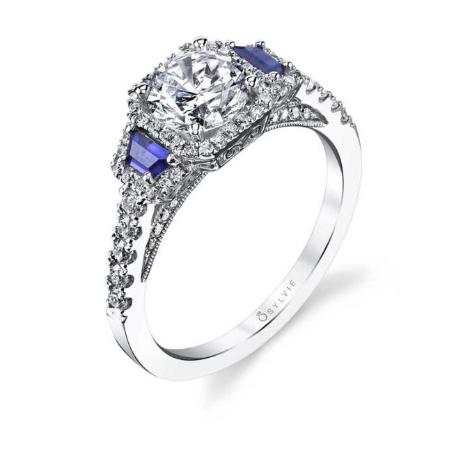 3 Stone Engagementng With Sapphires