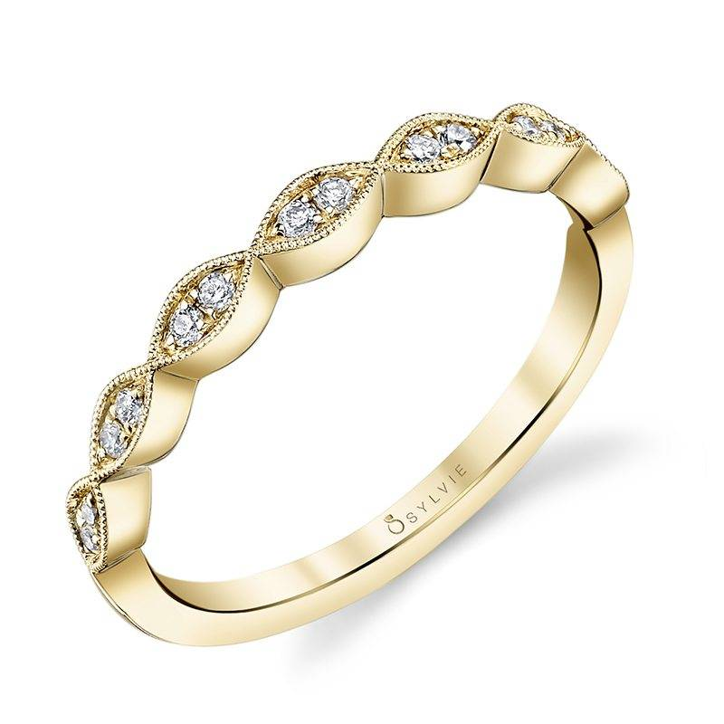 yellow gold diamond stackable wedding band b0009