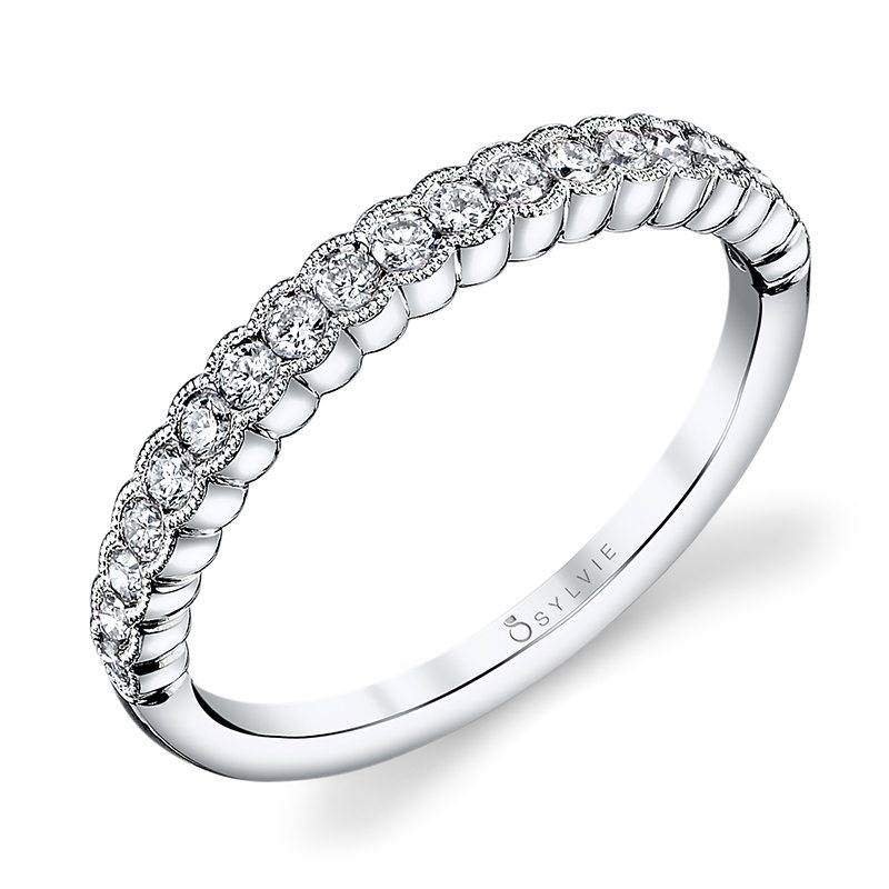Angeline - White Gold Stackable Wedding Band
