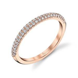 Arielle - Rose Gold & Diamond Stackable Wedding Band