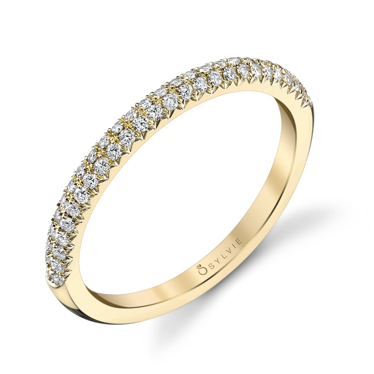 Arielle - Yellow Gold & Diamond Stackable Wedding Band