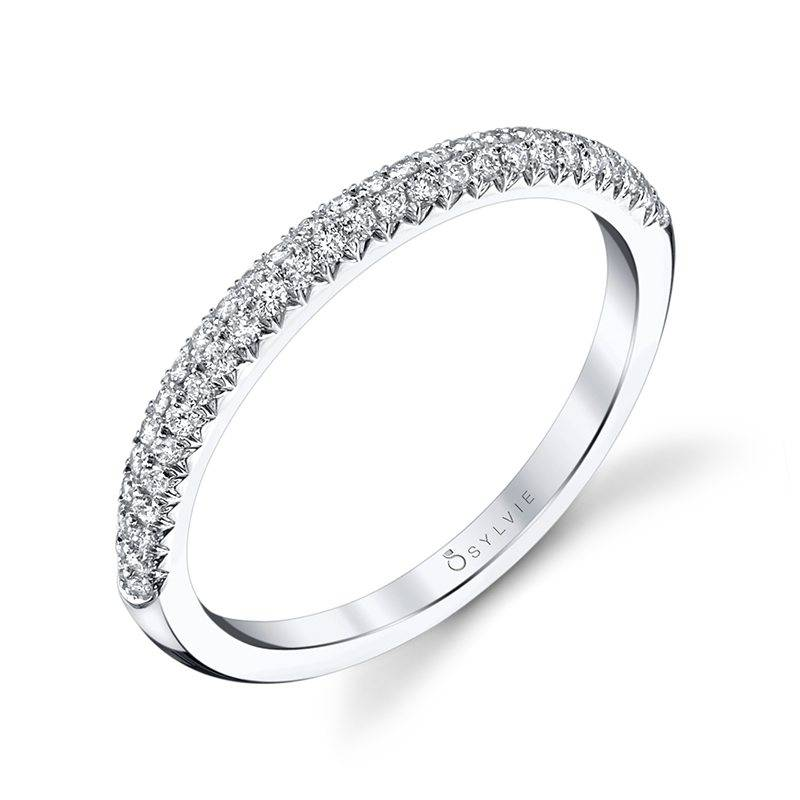 Arielle - White Gold & Diamond Stackable Wedding Band