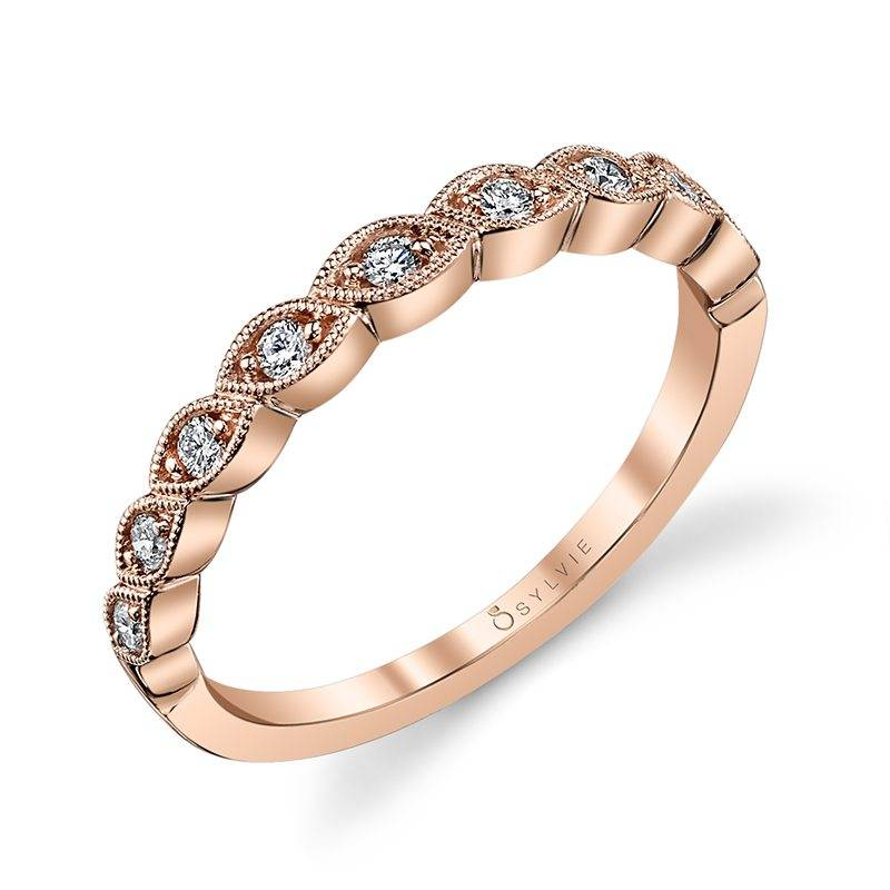 Fiona - Rose Gold & Diamond Stackable Wedding Band