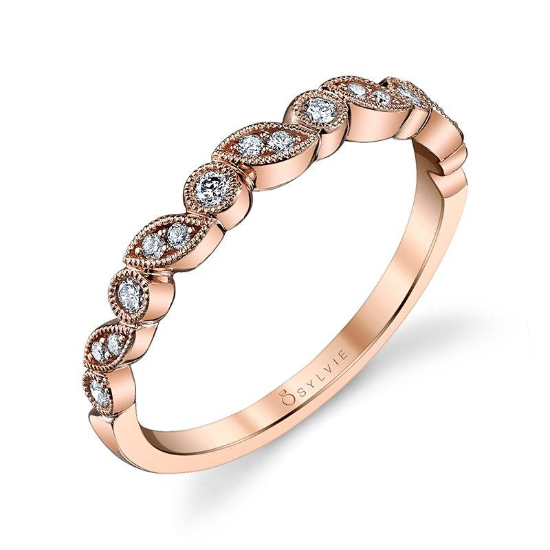 Abigaëlle - Rose Gold & Diamond Stackable Wedding Band