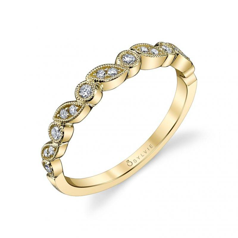 Abigaëlle - Yellow Gold & Diamond Stackable Wedding Band