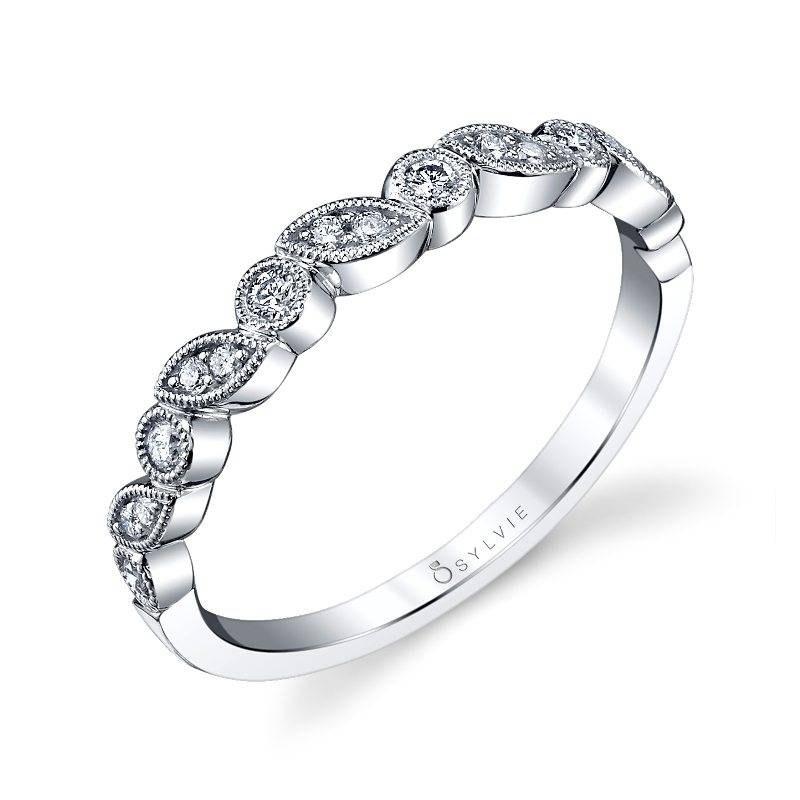 Abigaëlle - White Gold & Diamond Stackable Wedding Band