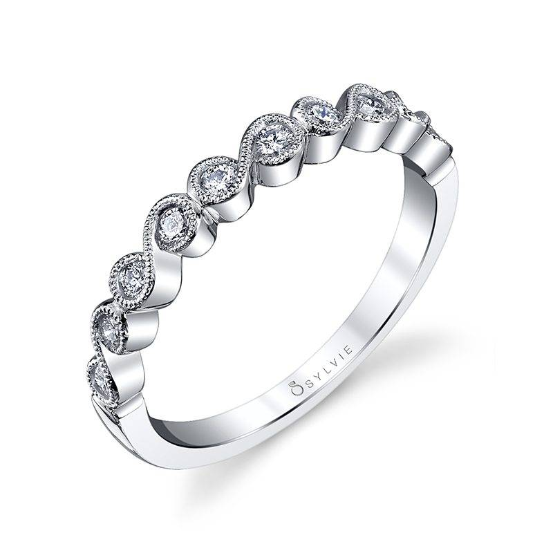 Béatrice - Round White Gold & Diamond Stackable Wedding Band