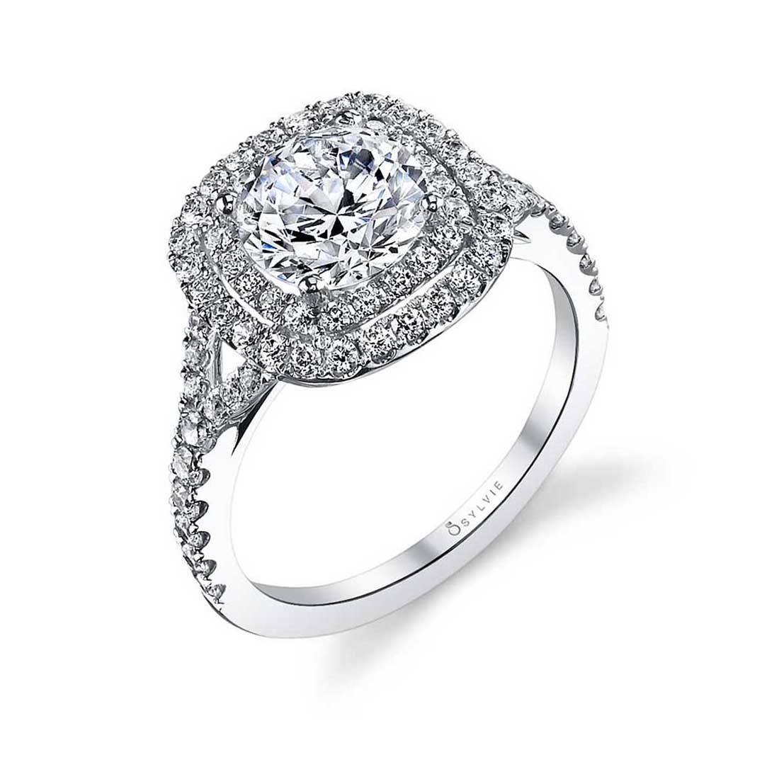 Marielle Double Cushion Halo Engagement Ring S1128