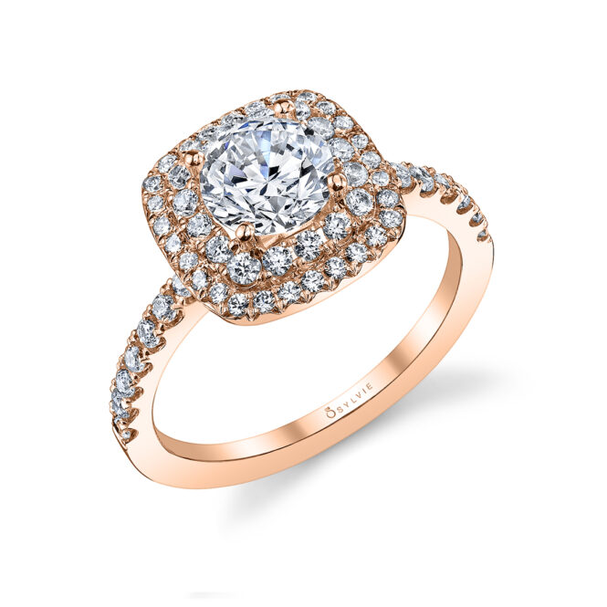 Double Halo Engagement Ring S1097–RG-Sylvie