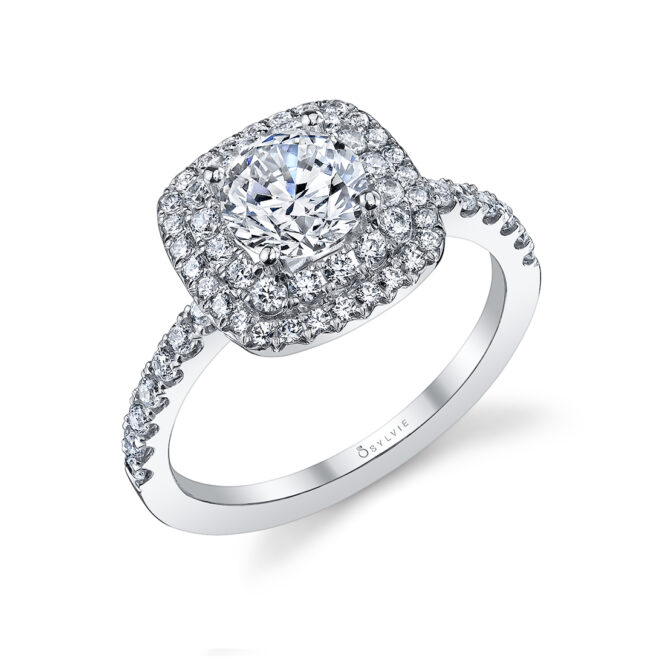 Double Halo Engagement Ring S1097–WG-Sylvie