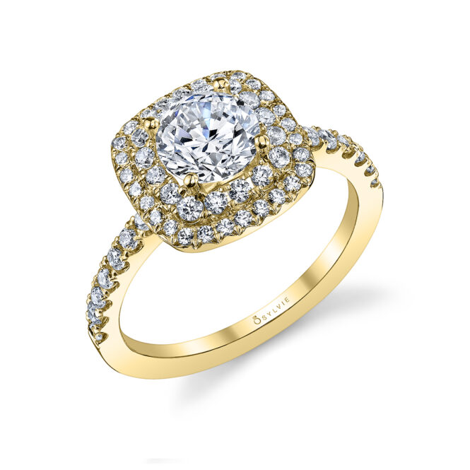 Double Halo Engagement Ring S1097–YG-Sylvie