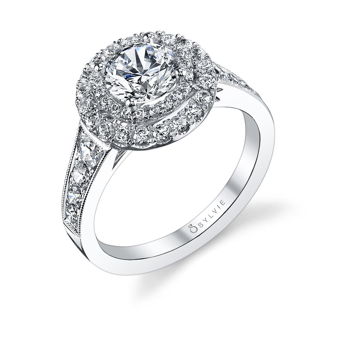 Double Halo Engagement Ring S1119-WG–Sylvie