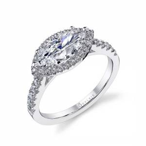 Cushion Cut Marquise Shaped Engagement Ring