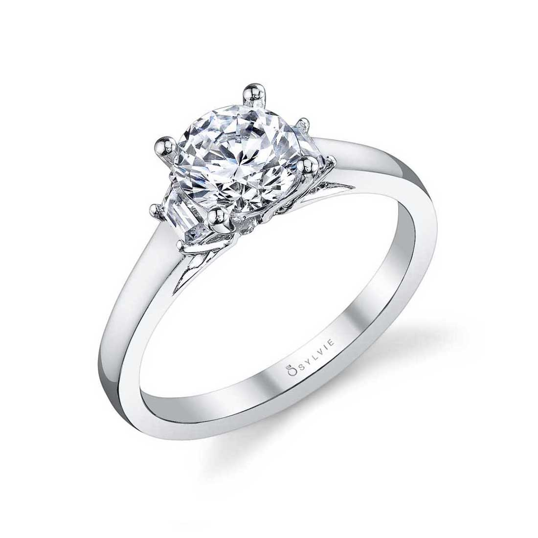 Modern 3 Stone Engagement Ring