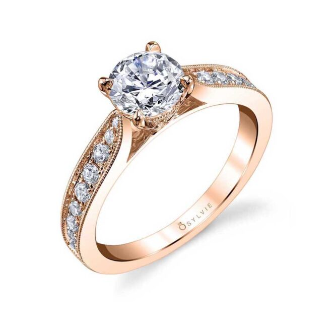 Modern Solitaire Engagement Ring S1352–RG-Sylvie