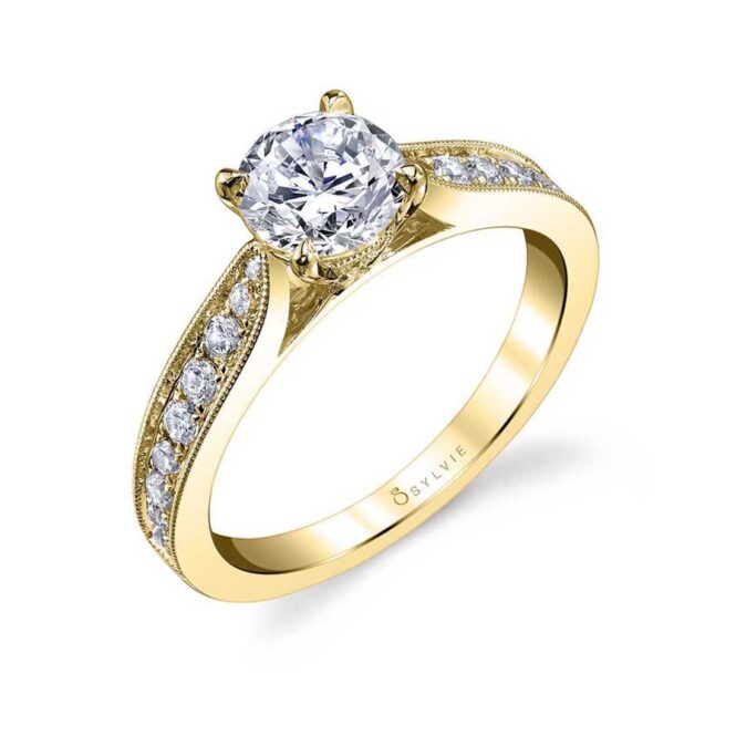 Modern Solitaire Engagement Ring S1352-YG–Sylvie