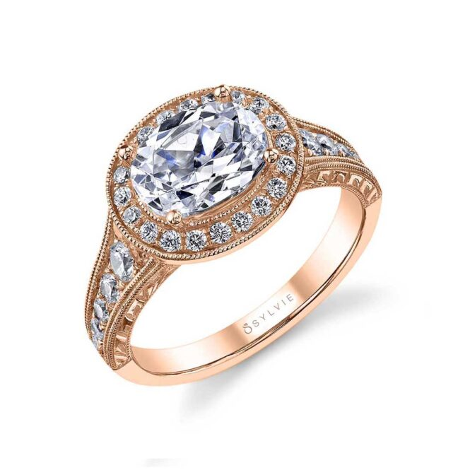 Oval Shaped East to West Halo Engagement Ring