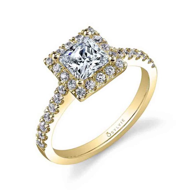 Cushion Cut Yellow Gold Princess Cut Engagement Ring with Halo