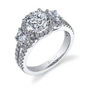 Three Stone Engagement Ring with Halo_S1060S-98A4W15R