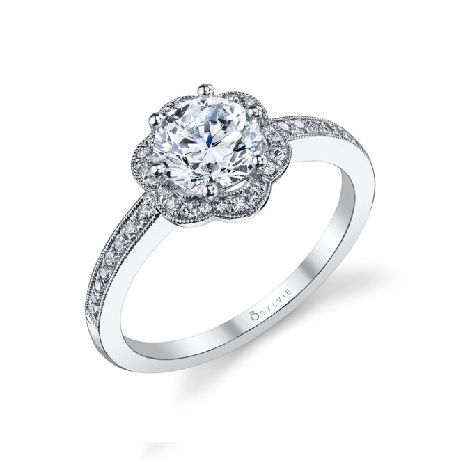 Flower Halo Engagement Ring