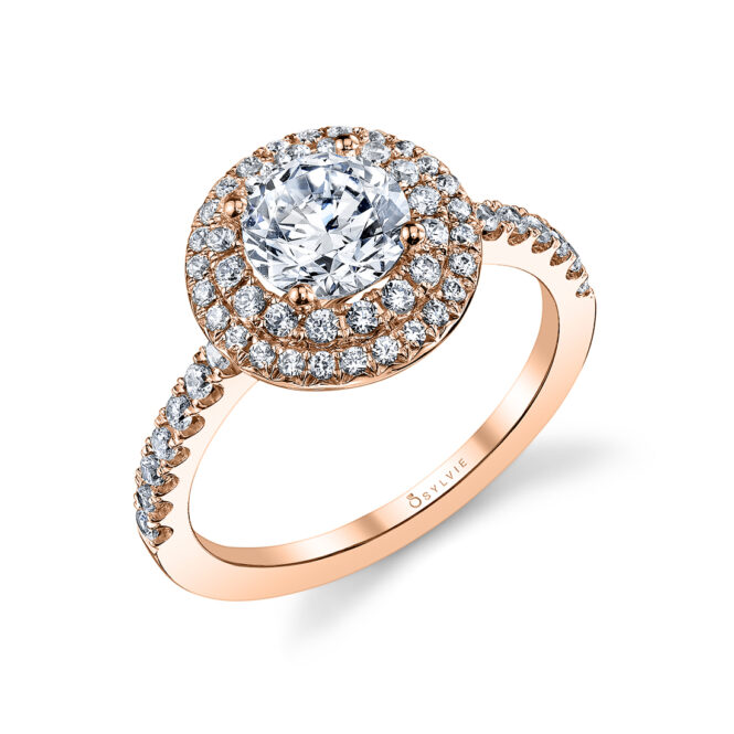 Double Halo Engagement Ring S1086-RB-RG