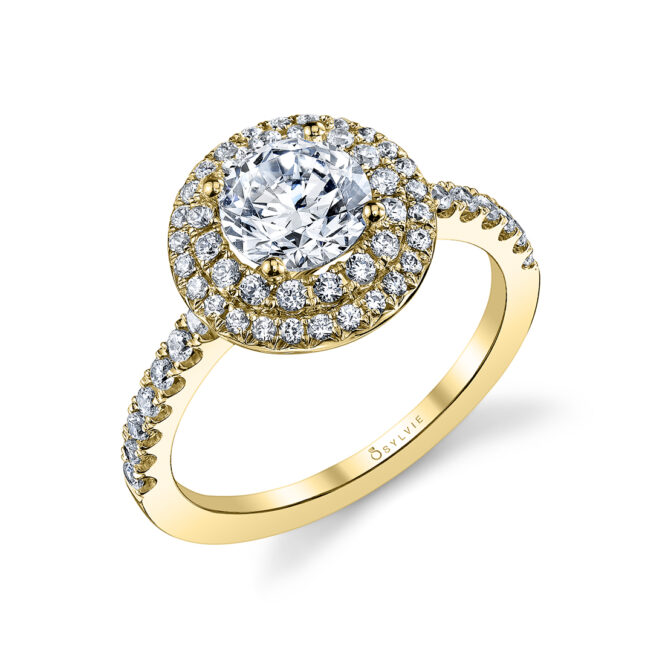 Double Halo Engagement Ring S1086-RB-YG
