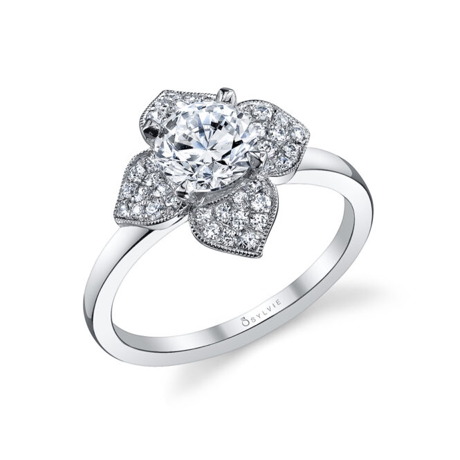 Floral Inspired Halo Engagement Ring S1089
