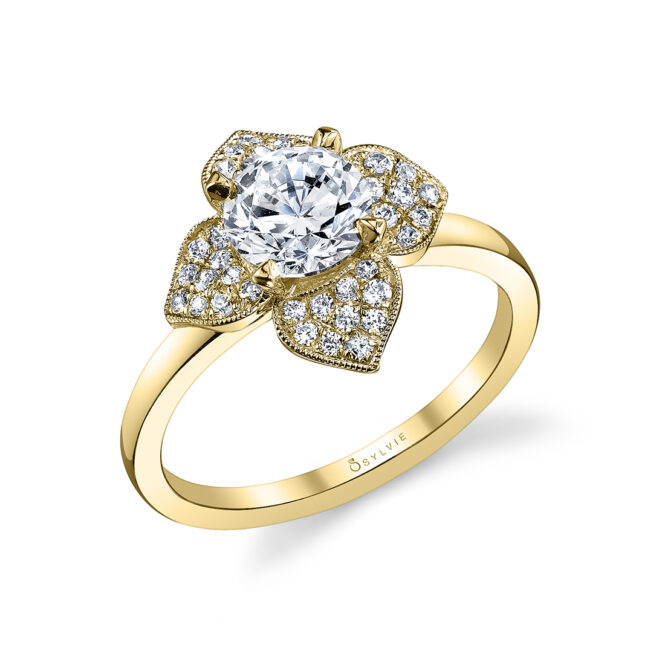 Floral Inspired Halo Engagement Ring S1089-YG