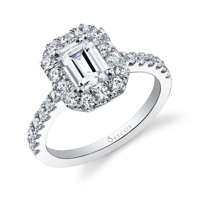 Joanne - Emerald Cut Halo Engagement Ring