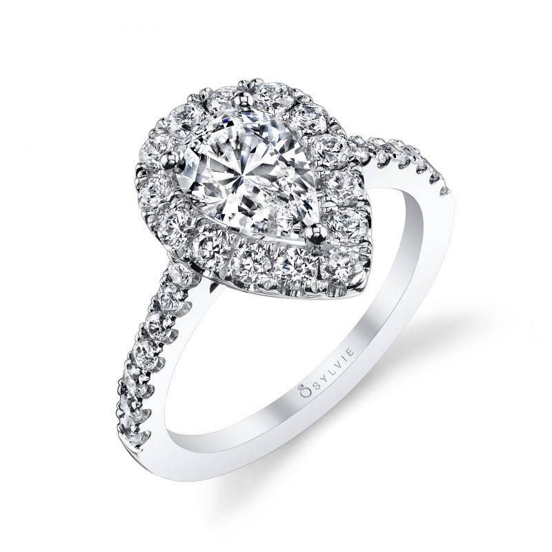 Colette - Pear Shaped Engagement Ring with Halo
