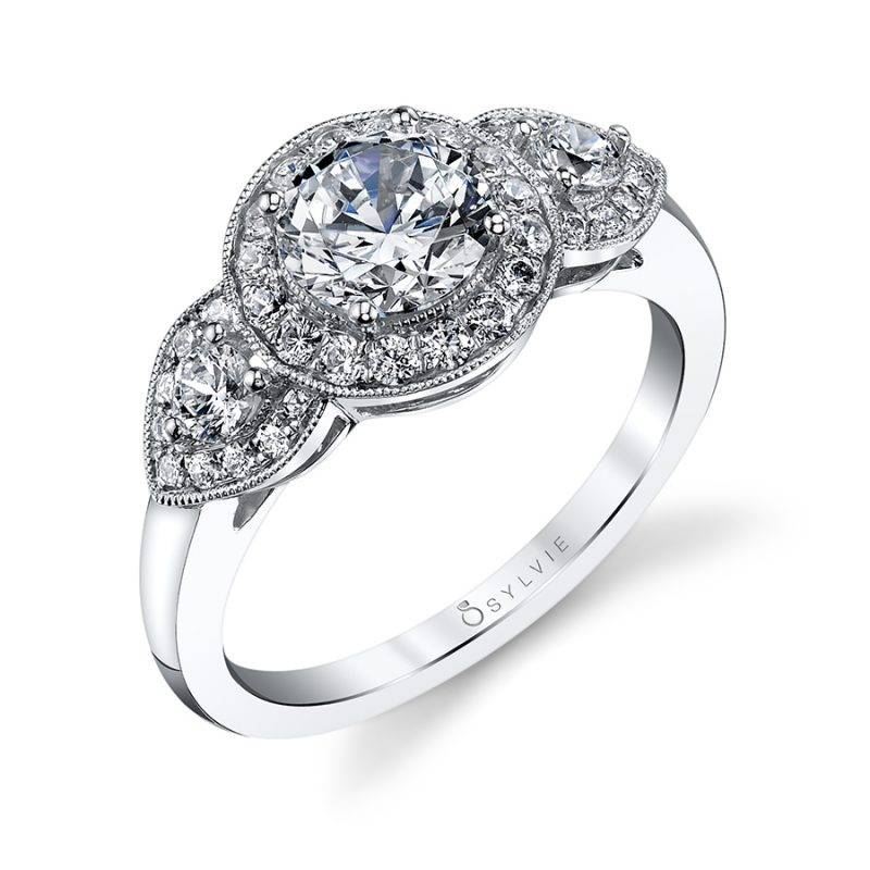 Claudie - Vintage Three Stone Engagement Ring with Halo