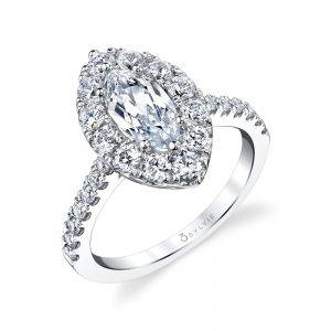 Samantha – Marquise Cut Halo Engagement Ring
