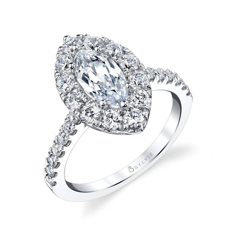 Avery - Marquise Cut Halo Engagement Ring