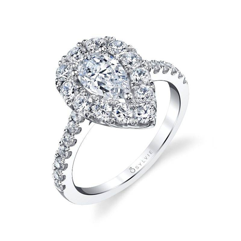Brettany - Pear Shaped Engagement Ring with Halo