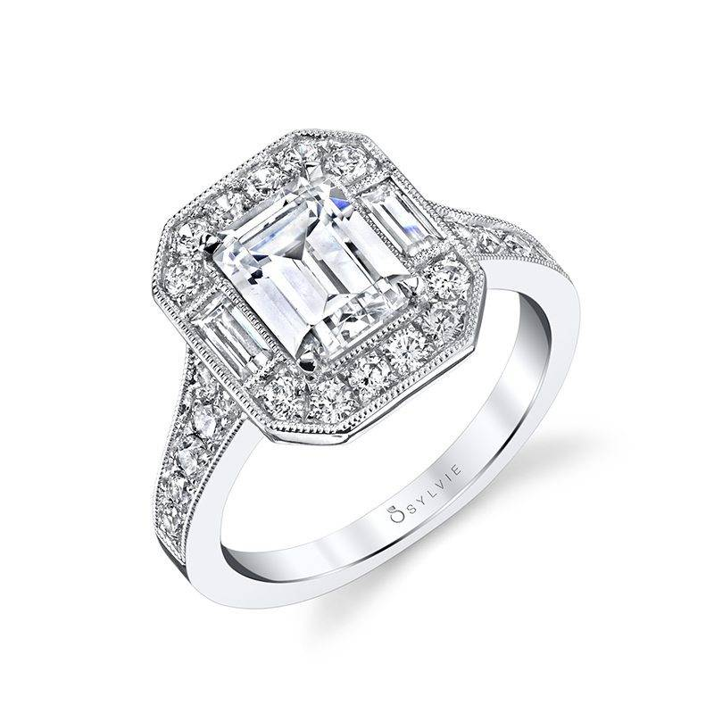 Cassie - Vintage Inspired Emerald Cut Engagement Ring