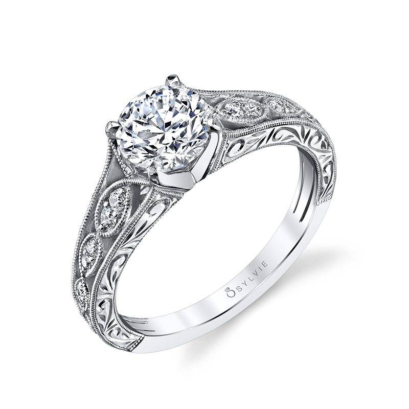 Justeen - Hand Engraved Vintage Inspired Engagement Ring