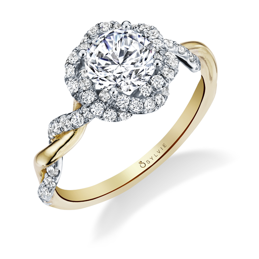Spiral Engagement Ring  Two Tone in Yellow Gold