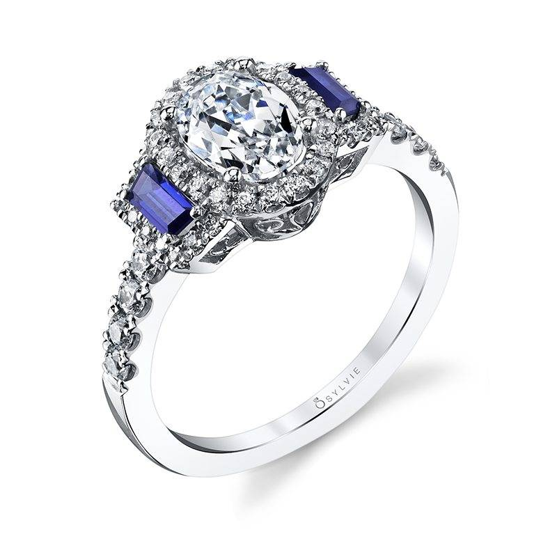 Adrianna - Three Stone Oval Engagement Ring with Sapphires
