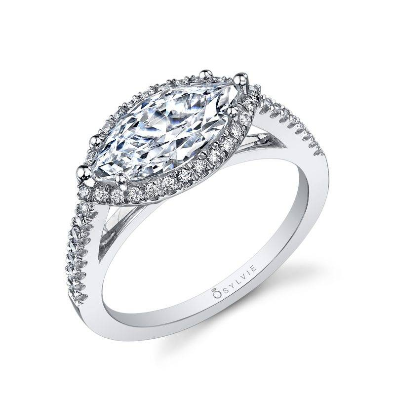 Mila - Marquise Engagement Ring with Halo