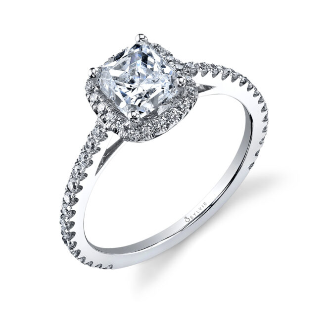 Cushion Cut Engagement Ring with Halo-