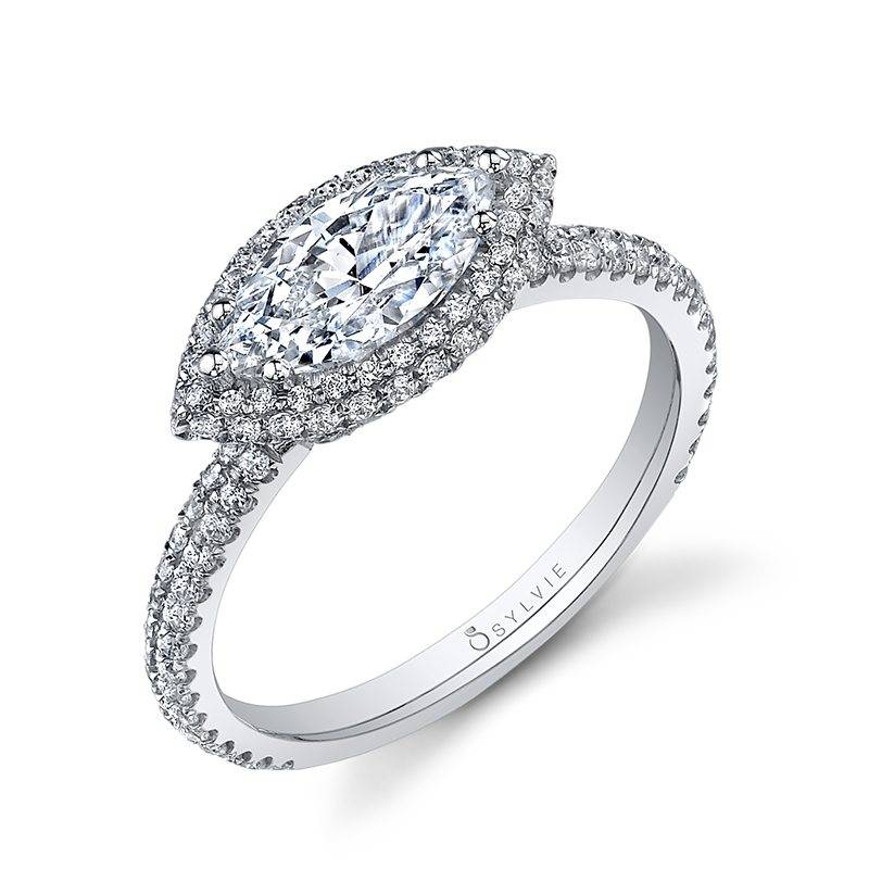 Lysandra - Marquise Shaped East to West Engagement Ring with Halo