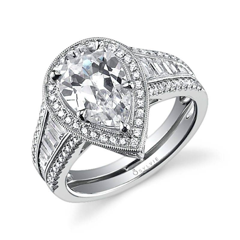 Severine - Pear Shaped Engagement Ring with Halo