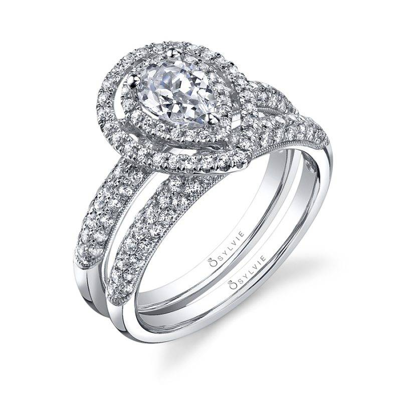 Marie-Êve - Pear Shaped Engagement Ring with Double Halo