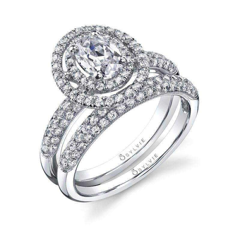 Marie-Êve - Oval Engagement Ring with Double Halo