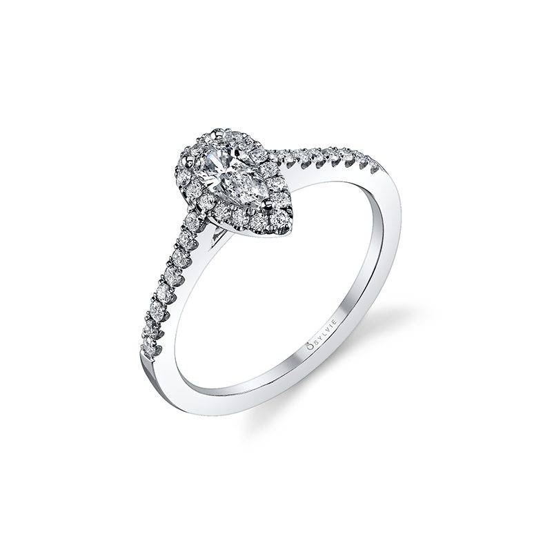 Nellie - Pear Shaped Halo Engagement Ring