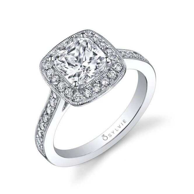Modern Cushion Halo Engagement Ring