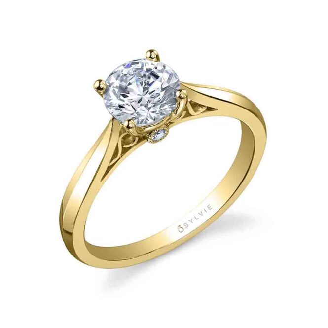 Round High Polish Solitaire Engagement Ring SY904-YG