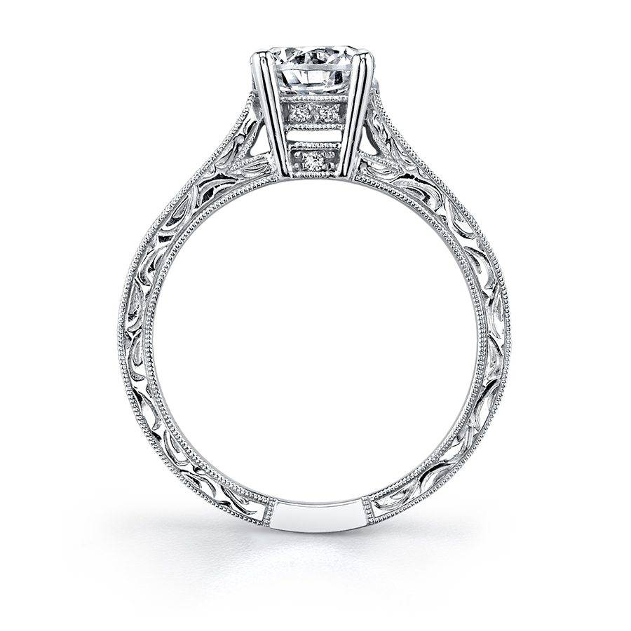Francille - Round Vintage Hand Engraved Engagement Ring