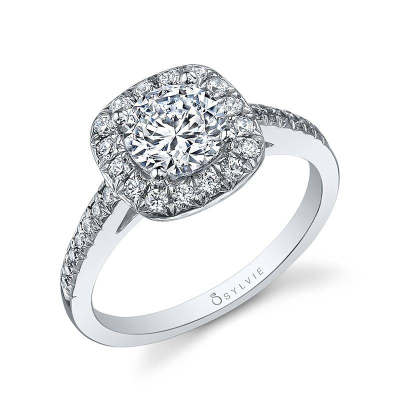 Anabella - Marquise Shaped East to West Engagement Ring with Halo